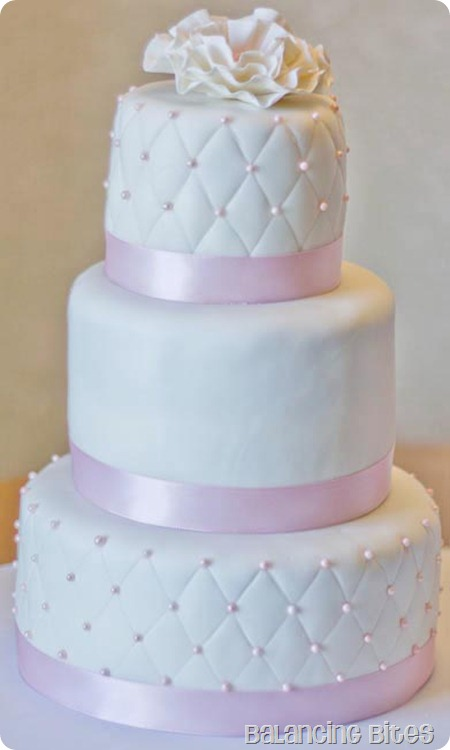 Quilted with Sugar Pearls Fondant Wedding Cake