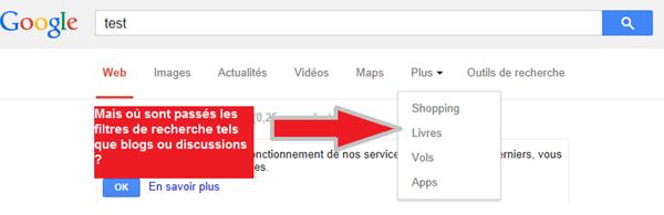 filtres de recherche google