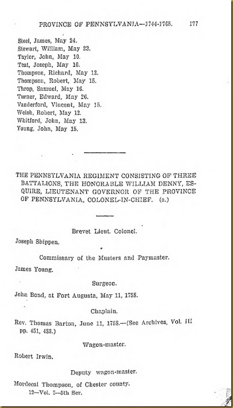 Pennyslvania Archives Series 5 Volumne I Officers and Soliders in the Service of the Providence of Pennsylvania 1744-1765 Page 177