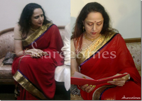Hema_Malini_Red_Saree