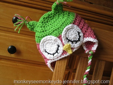 pink and green owl hat (6)
