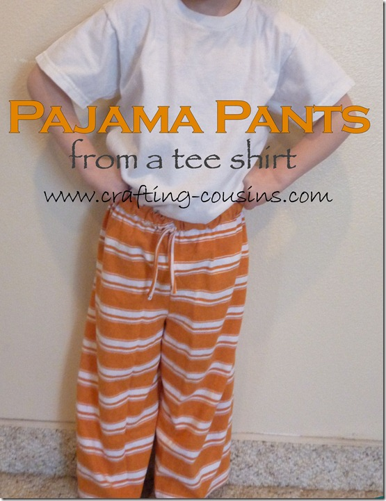 Make a pair of children's pajama pants from a tee shirt.  Check it out at Crafty Cousins