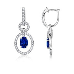 Oval Sapphire and Diamond Hoop Earrings