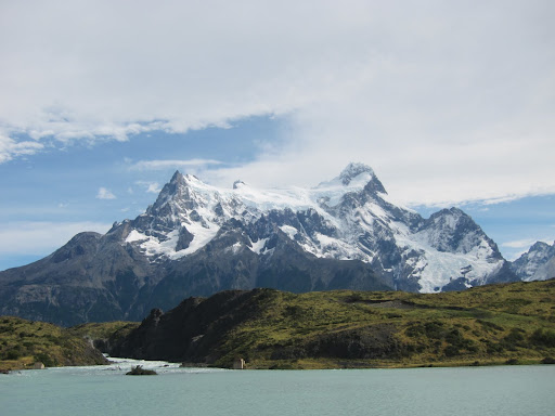 Glacier-covered mountains as seen from the catamaran across Lake Pehoe.