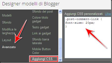 come modificare ingrandire carattere font link commenti home page blog blogger