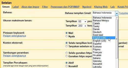 Mengganti bahasa di Gmail
