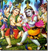 Krishna playing with friends
