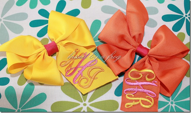 interlock monogram boutique bow kissed by a frog custom bow personalized