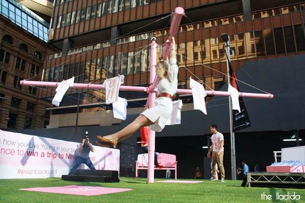 evian Live Young Backyard - Martin Place, Sydney - Giant Pink Hills Hoist (2)