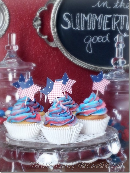 Cherry Filled Vanilla Cupcakes with Fourth of July Picks