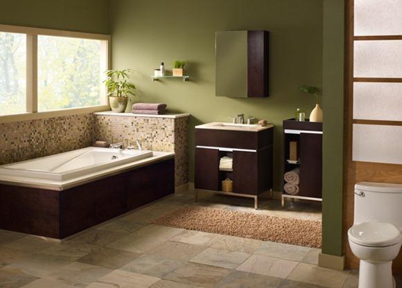 Baños Color Verde Oscuro: un efecto de enfriamiento de este armario de color marrón oscuro