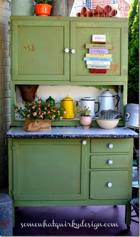 Hoosier Cabinet painted Luckets Green9085