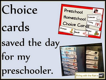 Choice cards saved the day for my preschooler. Free download from Raki's Rad Resources.