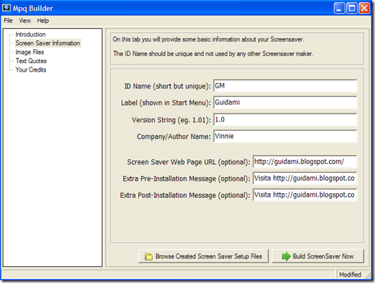 Mpq Builder digitare informazioni screensaver