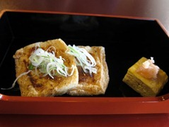 Deep fried Tofu with sweet miso sauce and omelette roll