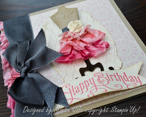Stampin'Up! Tea for Two Ombre ruffled dress close