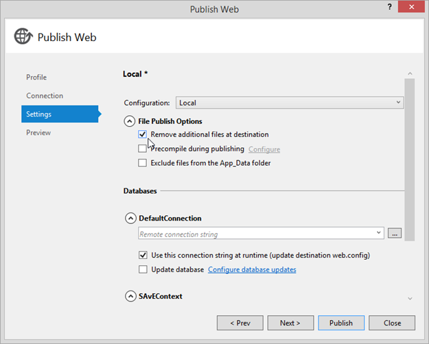 Figure 1 - Visual Studio Publish Web with File Publish Options => Remove additional files at destination