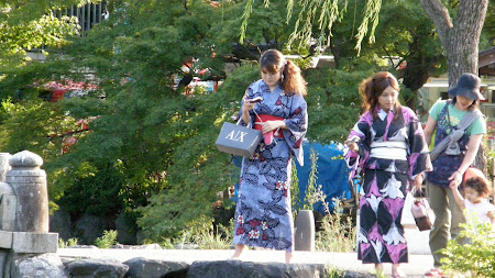Ladies in traditional Japanese dresses