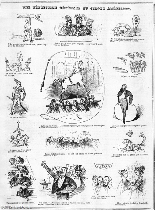 The Dress Rehersal of the American Circus - Comical Illustraions