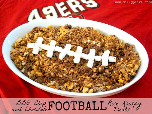 Barbeque Chip and Chocolate Rice Football Krispy Treats by The Silly Pearl