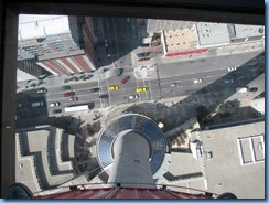 9851 Alberta Calgary Tower - view down through glass floor in Observation deck