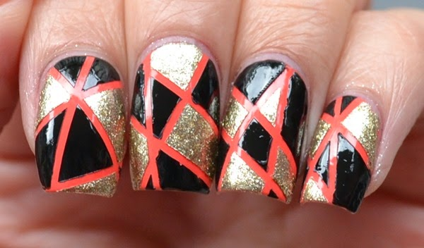Geometric Taping Nail Art