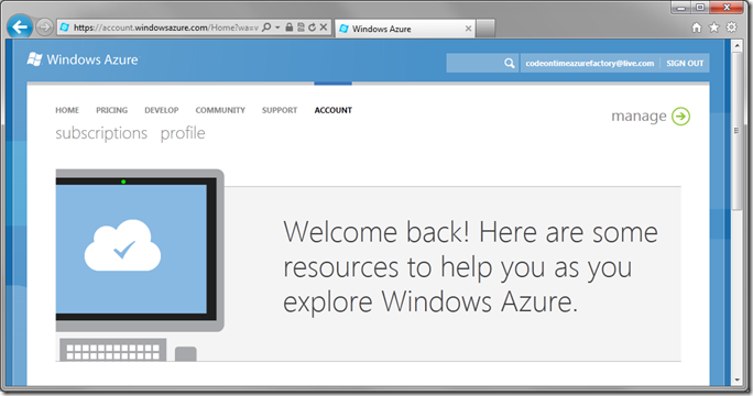 Manage button on the Windows Azure page