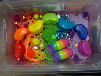 Rainbow Sensory Tub from Trial and Error Mama
