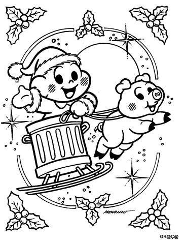 Cascão e Chovinista voando trenó de lixo,cascão no natal,desenho para imprimir e colorir natal,