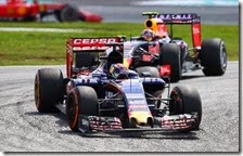 Max Verstappen(Toro Rosso) precede una Red Bull