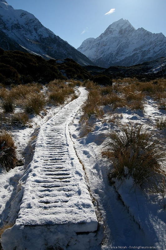 Snow covered path to Mount Cook