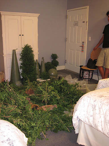 Here's the hotel room as we finalized the topiaries and did some last-minute pruning.