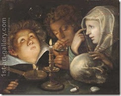 A-Vanitas-Allegory-Homo-Bulla-Est,-A-Boy-Blowing-Bubbles-While-Another-Watches-And-A-Young-Woman-Holds-A-Skull-By-Candlelight