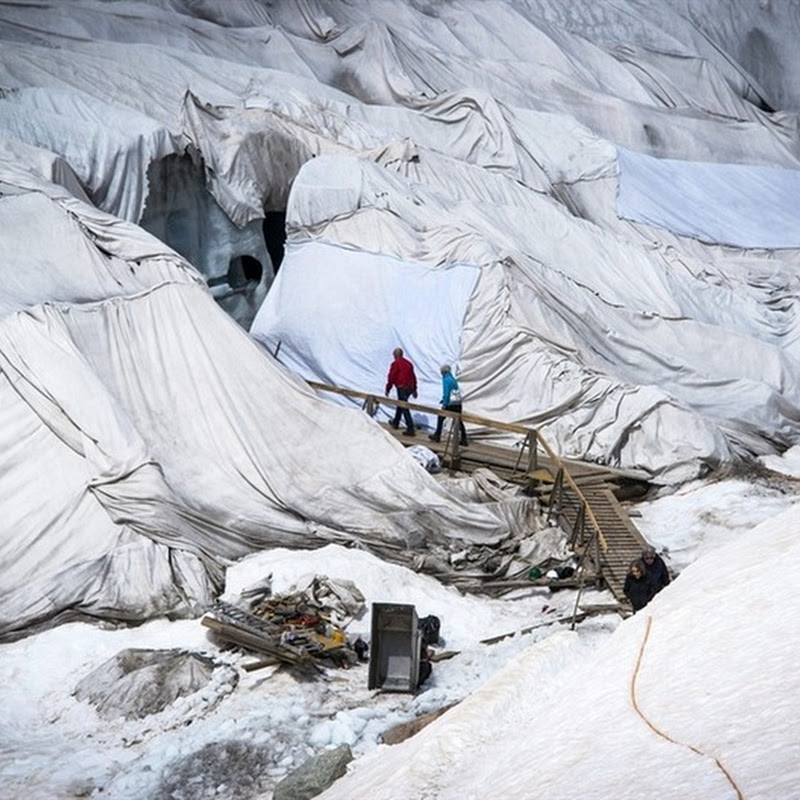 Rhone Glacier Covered in Blankets to Slow Melting