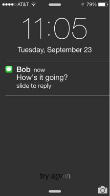Message on lockscreen