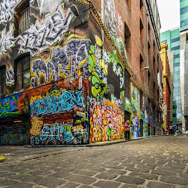 Hosier Lane by Jose Rojas - City,  Street & Park  Street Scenes ( grafitti, hosier lane, icon, streetphotography, street life, streetscape, street art, art, turist attraction, street scene, grafitti art )