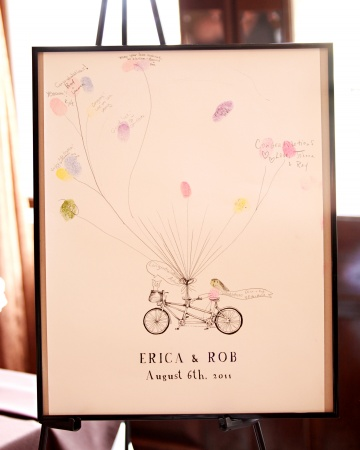 A poster featuring the couple's names, wedding date, and a bicycle built for two served as their guest book. Guests were encouraged to create 