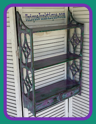 green and purple chalk painted shelf