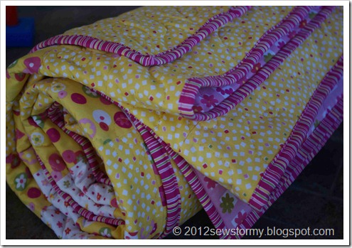 Daisy Buttons Quilt Rolled