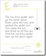 Letter E itsy bitsy spider