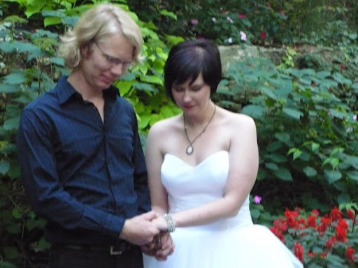 Kevin Gehrig and Stacia Skinner eloped to Eureka Springs earlier this fall to get married. A month later, Kevin had to miss his own wedding reception in Springfield, due to the flu. (Photo provided to KSMU by Stacia Skinner)