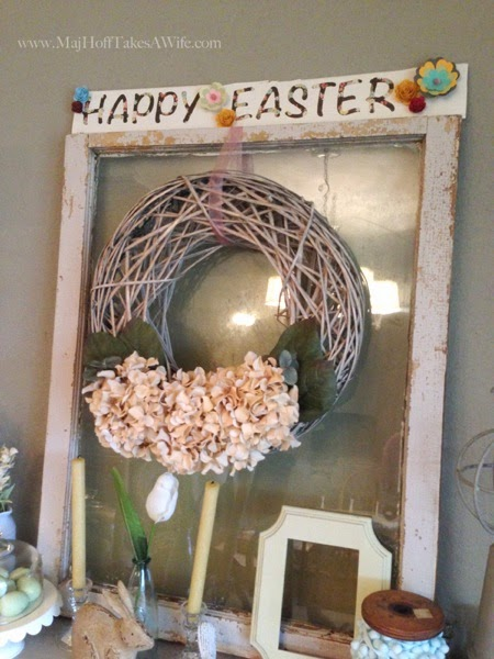 Full Easter window with sign above