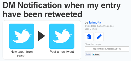Ifttt  DM Notification when my entry have been retweeted