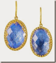 Larkspur and Hawk gold dipped blue topaz earrings
