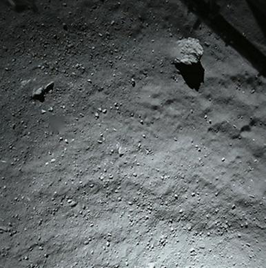 aproximação da superfície do cometa