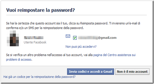 Facebook Vuoi reimpostare la password?