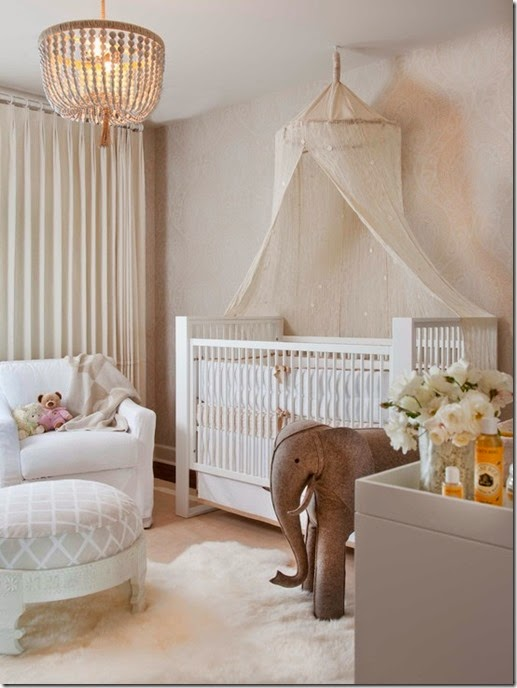 Awesome-Unisex-Baby-Room-Themes-Using-White-Canopy-Over-White-Crib-Combined-With-Pendant-Lamp-Over-White-Armchair-And-Footstool-Also-White-Fur-Rug-And-Curtains