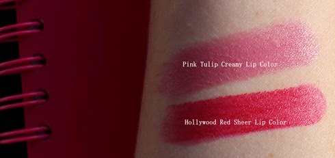 BobbiBrown-PinkTulip-HollywoodRed-Lip-swatches