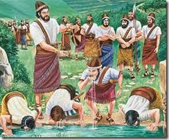 Gideon men dip water