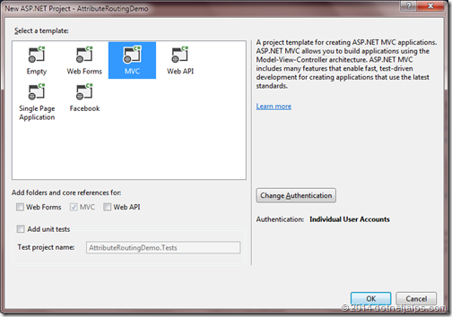 Attribute routing demo in asp.net mvc 5.0 creating a new project in visual studio 2013